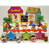 Sesame Street 17 Piece Birthday Cake Topper Set Featuring Elmo, Bert, Ernie, Cookie Monster, Big Bird and Other Themed Accessories - Sesame Street Topper