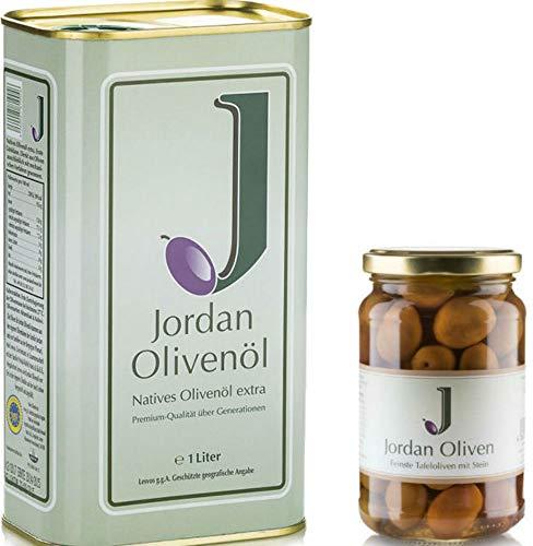 Jordan Olivenöl inkl. Jordan Oliven Glas