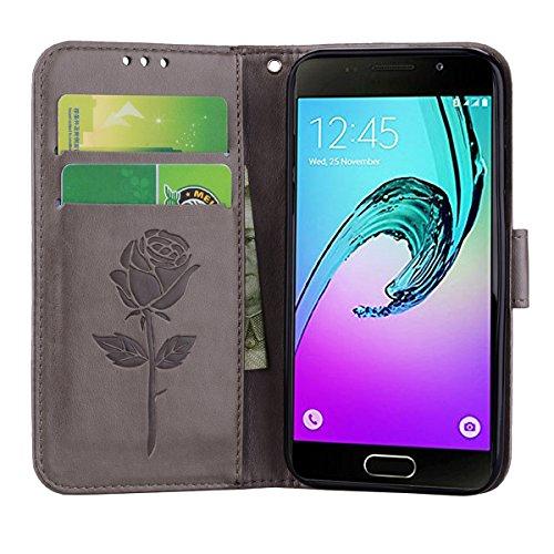 Coque Samsung A3 (2017) Anfire Fleur Motif Peint Mode Coque PU Cuir pour Galaxy A3 (2017) Etui Case Protection Portefeuille Rabat Étui Coque Housse pour Samsung Galaxy A3 (2017) SM - A320 (4.7 pouces) Gris