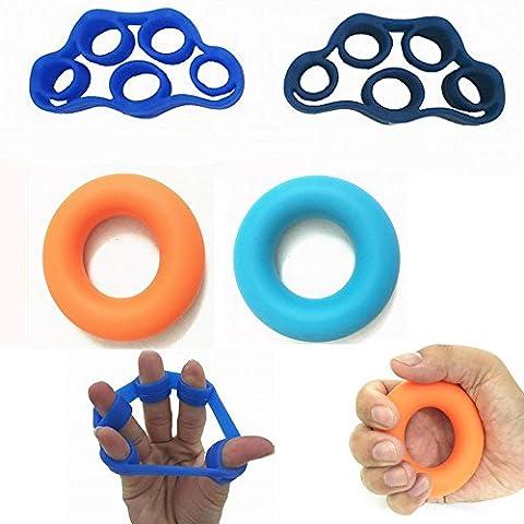4pcs/lot à la main pour main d'entraînement doigt Châssis d'alimentation Exerciseur Gripper pour renforcer la poignet avant-bras en silicone prise en main Bague