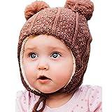 Bequeme Baby Strickmütze Hut für Herbst Winter, Ohrenschützer (S: 3 – 12 Monate, Brauner Bär)