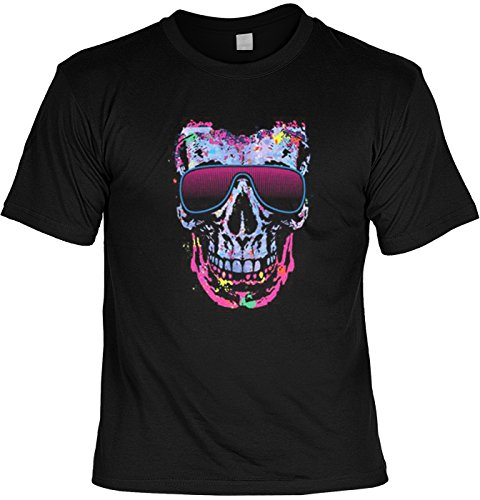 Cooles Neon Totenkopf T-Shirt - Neonskull Sonnenbrille : Shady Character -- Skull T-Shirt Gr: XL