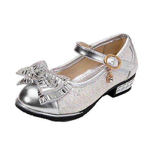 Ohmais Enfants Filles Chaussure cérémonie Ballerines à bride Fête Demoiselle d'honneur Mariage Escarpin plat Babies silver