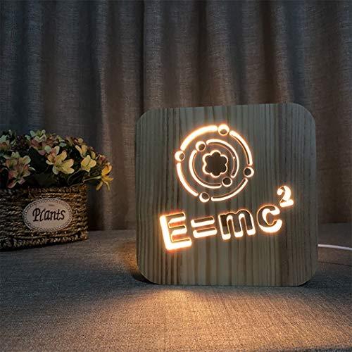 3D Holz Lampe, USB Lade geometrische Symbol geschnitzt Nachtlicht, LED Tischlampe Schlafzimmer neben Dekor Lampe, Geschenk für Kinder Erwachsene Studenten