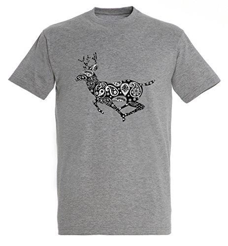 Awesome Running Deer Wild Animal Design Vintage Flowers Interesting Creative Men Herren Grey Melange T-shirt