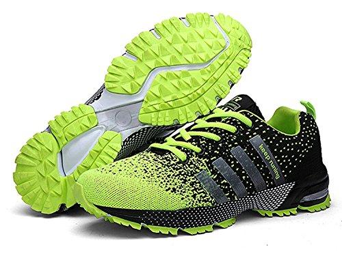 Uomo Donna Scarpe da Ginnastica Corsa Sportive Running Sneakers Fitness Interior Casual all'Aperto nero verde