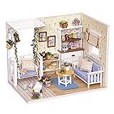 Decdeal Case delle Bambole,Fai Da Te In Miniatura Casa delle Bambole Kit,Mini 3d Casa In Legno con Mobili Luci A Led Regalo di Compleanno di Natale (Diario di Gattini)