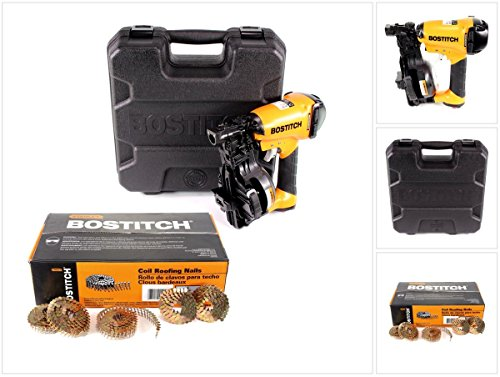 Bostitch RN46K-2-E Druckluft Nagler im Koffer Coilnagler für Dachpappnägel CR 19-45 mm + 7200 Dachpappnagel CR2DCGAL Galvanisierte 3.05-22 GAL8 7.2M 7/8' / 22 mm glatt