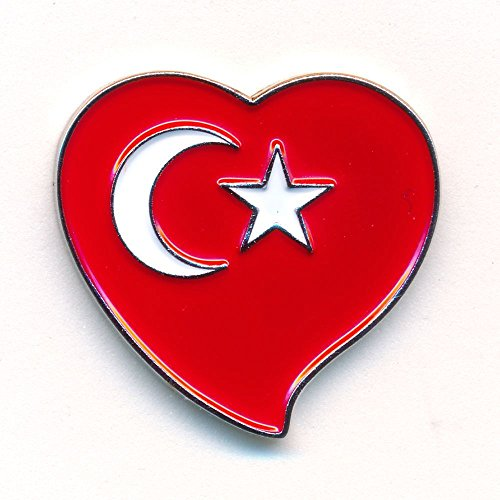 Türkei Herz Flagge Ankara Patrioten Flag Heart Badge Button Pin Anstecker 0028
