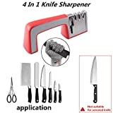 COSORO 4 in 1 Messerschärfer Messerschleifer mit Schnittfeste Handschuhe,Kitchen Haushalt Kit Professional Multipurpose Scissors Messerschärfer Beste Scharfe und sichere Küche,Rutschfeste Basis (Rot)