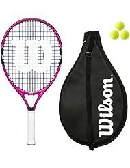 Wilson Brennen Junior Tennisschläger, 19, 21, 23, 25, inklusive 3Bälle, Mädchen/Jungen, Pink/Orange