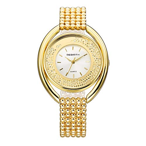 Damenuhren Scrollbar Strass Großes Zifferblatt Quarzwerk Armband Uhren für Damen Edelstahlband, Gold