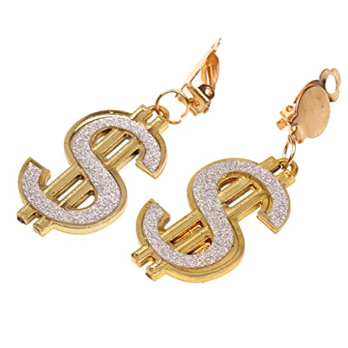 MagiDeal Jewelry Dollar Sign Earrings Nightclub Hen Night Halloween Party Fancy Dress Drop