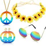 4 Pezzi Hippie Costume Set Include Arcobaleno Pace Segno Collana Orecchino Girasole Cerchietto e Rotondo Hippie Occhiali da Sole 60s 70s Festa Accessori Pace Set