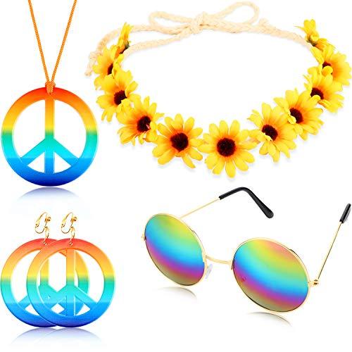 Kostüm Schmuck Klassische - Geyoga 4 Stücke Hippie Kostüm Set Bestehend aus einem Regenbogen Friedenszeichen Halsketten Ohrring mit Sonnenblumen Stirnband und Runde Hippie Sonnenbrille aus den 60er und 70er Jahren
