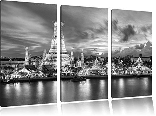 wat-arun-temple-night-view-bangkok-in-thailandia-arte-b-w-immagine-3-pezzi-picture-tela-120x80-su-te