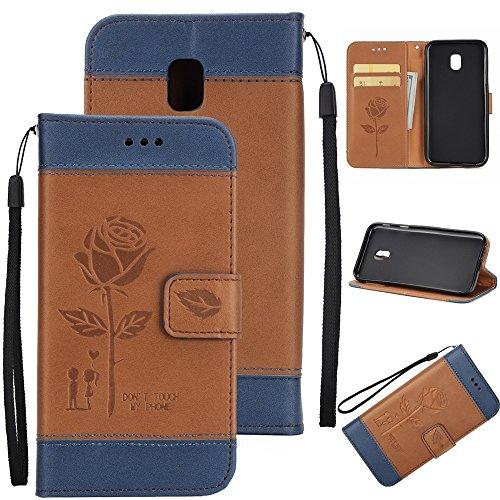 EKINHUI Case Cover Gemischte Farben Rose Blume matt Premium PU Leder Brieftasche Stand Case Cover mit Lanyard & Card Slots für Samsung Galaxy J330 ( Color : White ) Brown