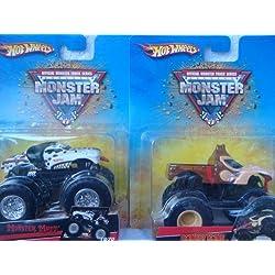 Hot Wheels Monster Jam Donkey Kong & Monster Mutt, diseño de dálmata juego de 2camiones 1/64