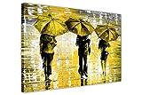 """Toile encadrée Paysage 3parapluies par Leonid Afremov Décoration murale, Agrafes Toile Bois dense, jaune, 5- A2 - 16"""" X 24"""" (40CM X 60CM)"""
