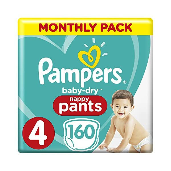 Pampers Baby-Dry Size 4, 160 Nappy Pants, 9-15 kg, Easy-On for Up to 12 Hours of Breathable Dryness, Monthly Pack