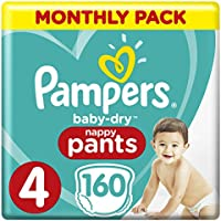 Pampers Baby-Dry Size 4, 160 Nappy Pants,(8-14 kg), Easy-On for Up to 12 Hours of Breathable Dryness, Monthly Pack - Packaging may vary - ukpricecomparsion.eu