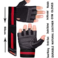 Xtrim Macho Unisex Leather Workout Gloves (Black, Large)