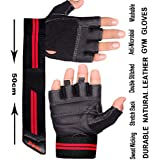 Xtrim Unisex Macho Leather Gym Workout Wrist Wrap Gloves