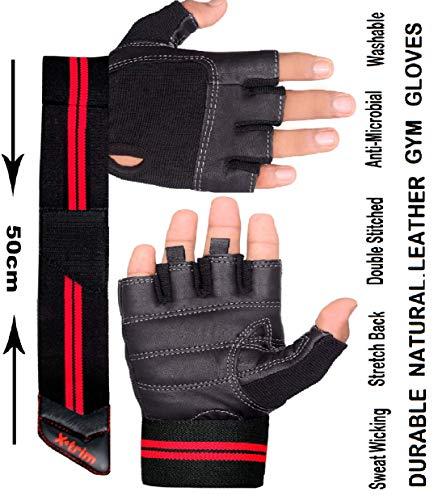 Xtrim Macho Unisex Leather Workout Gloves (Black, Large)