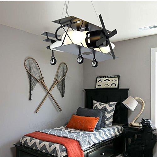 Guo Kinderzimmer-Lichter Jungen-Raum-Flugzeug-Lichter Kronleuchter-Pers5onlichkeit-kreative Eisen-Lampen E14 Lampen-Hafen