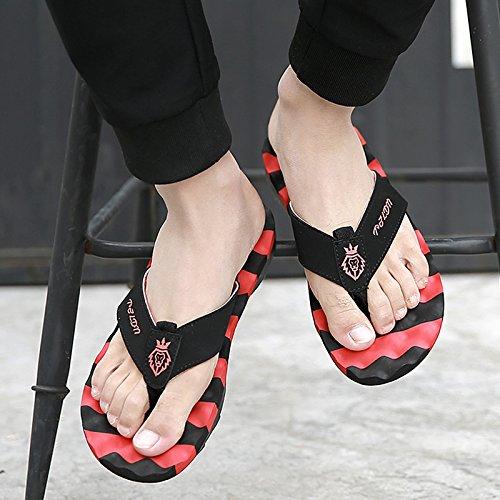 DogHaccd pantofole,Nel campo Da dell'estate e uomini clip massaggio ai piedi pantofole di marea estate anti-slittamento home sabbia spessa cool pantofole per uomini Il rosso3