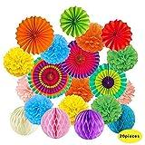 ToDIDAF, ventagli di carta velina, pompon a forma di fiore e palle a nido d'ape, colorati, per celebrazioni, matrimoni, compleanni, feste, Halloween, Natale, decorazione per esterni
