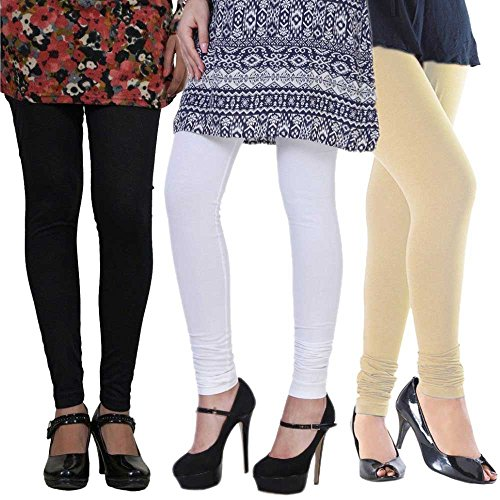 Women\'s Cotton Lycra Leggings Combo Pack of 3 (Black, White and Beige)