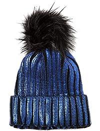 Accessoryo Unisex Metallic Navy Chunky Rib Knit Beanie with Black Pom Pom 50680656fe18