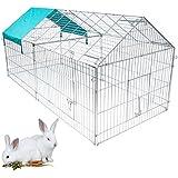 WOLTU® Freilaufgehege 220*103*85 cm Freigehege mit Ausbruchsperre Hasen Kaninchen Nager mit Sonnerschutz Verzeinkt HT2067m2