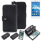 K-S-Trade 2in1 Handyhülle für Huawei Y7 Dual SIM Schutzhülle & Portemonnee Schutzhülle Tasche Handytasche Case Etui Geldbörse Wallet Bookstyle Hülle schwarz (1x)