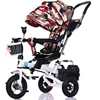 Li jing home Childrens Tricycle Trolley Bicycle Kids Push Trikes for Baby 3 Wheel Bike with Parent Handle and Anti-UV Awning