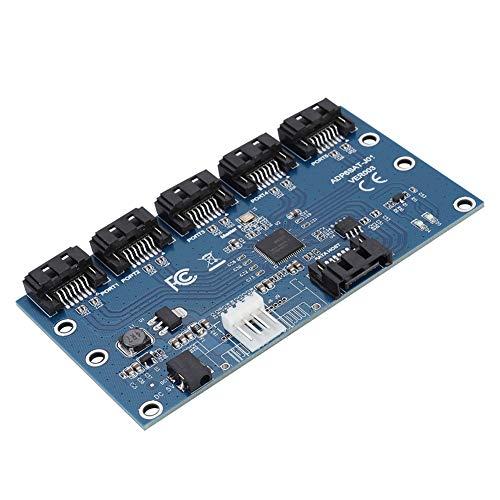 Jadpes SATA-Port-Multiplikator-Festplatten-Riser-Karte, 1 bis 5 Festplatten-Riser-Karte Computer-Motherboard SATA-Port-Multiplikator SATA3.0-Erweiterungskarte