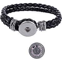 Morella donna Click-button Set braccialetto intrecciato nero e diamante/Diamonte Bling