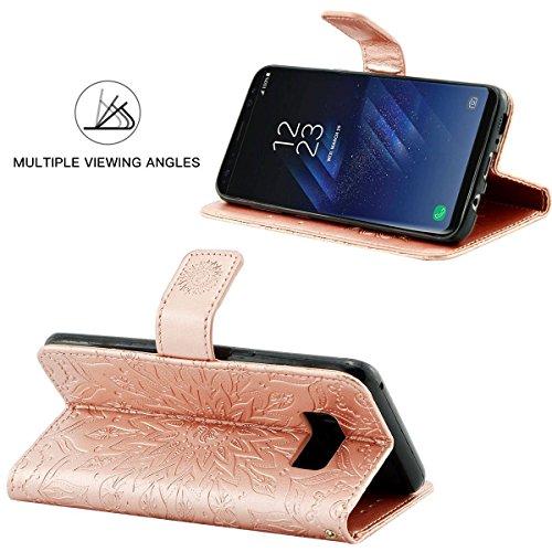 Galaxy S8 Cover, Qissy® Case für Samsung Galaxy S8 Plus Cover Premium Leder Schutzhülle mit integrierter Kartenkoffer Stand Funktion Nude