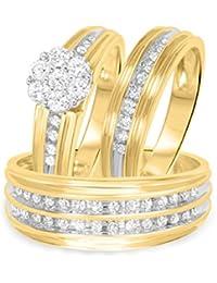 Silvernshine 1 CT RD Sim Diamond Trio Matching Wedding Ring Set 14K Yellow Gold Fn 925 Silver