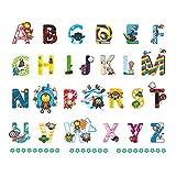 ufengke Stickers Muraux Alphabet Anglais ABC et Super Héros Autocollant Mural Lettres pour Chambre Enfants Garçon Décoration Murale