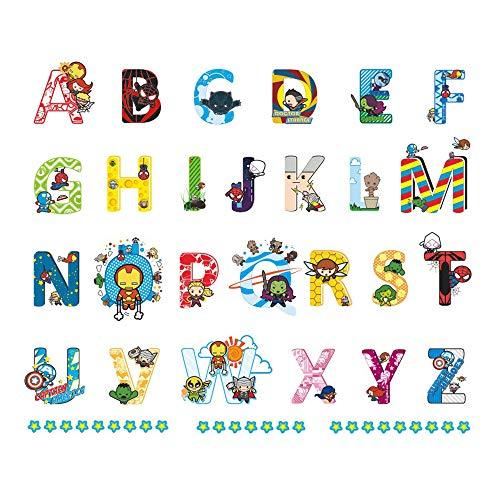 ufengke Pegatinas de Pared Inglés Alfabeto y Superhéroes Vinilos Adhesivos Pared Letras Decorativos para Habitación Infantiles Bebés