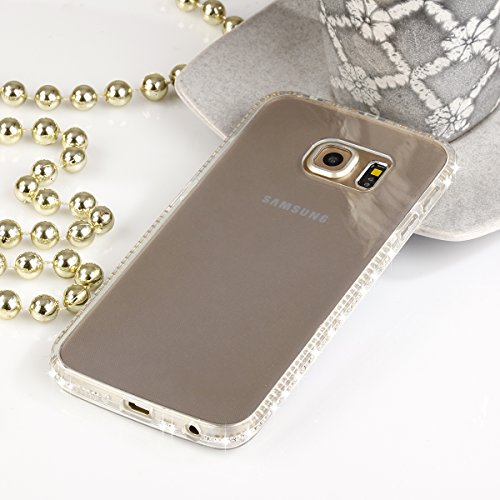 EGO® TPU Case Cover Bling Rhinestone Case Silicone Case Diamond Case voor de Samsung Galaxy S7 Gold Transparent Luxe Glitter Matt Case Crystal Case Shiny Case Ultra Thin Case Strass Transparent