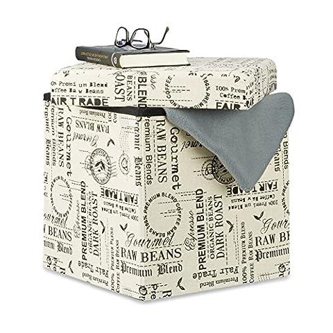 Relaxdays Storage Ottoman Pouffe, Foldable Seat Cube, Storage Box with Lid, HxWxD: 38 x 38 x 38 cm,