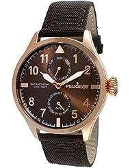 Peugeot de oro rosa y cristales para hombre tela reloj y fecha diseño de hada con alas de la Alianza de brillantes