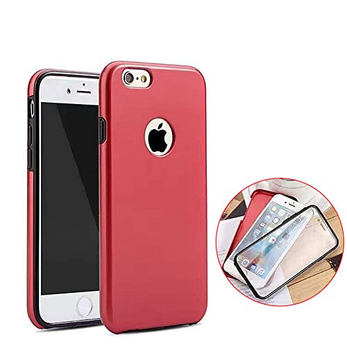 iPhone SE Handyhülle,iPhone 5 5S Hülle,JAWSEU Kreative 360°Full Body Neuheit Gold Hart Backcover+Tpu Rahmen Kratzfest Schutz Weich Gel Ultradünn Case Etui Clear Slim Fit Flexibel Rubber Fall Tasche Sc Rot