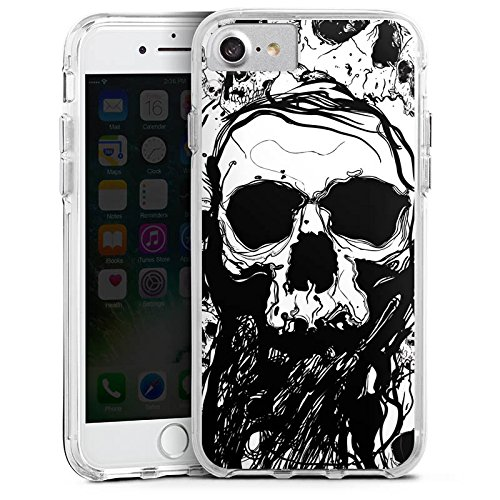 Apple iPhone X Bumper Hülle Bumper Case Glitzer Hülle Totenkopf Skull Halloween Bumper Case transparent