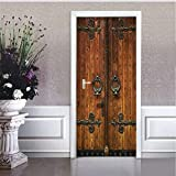 Haipeiy Türaufkleber Vintage Chinesische Schöne Muster Holztür Tür Aufkleber Kunst Wand Fenster Tür Aufkleber Removable Poster 77X200cm