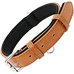 Grand Line Collar de Perro de Cuero Ajustable Acolchado Suave con Perforador de Agujeros 1 Color 4 Tamaños, Marrón