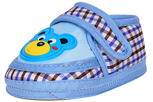 Ole Baby Teddy Applique Checks Soft Organic 3d Ole Toons First Walking Shoes with Rubber Sole 0-6 Months